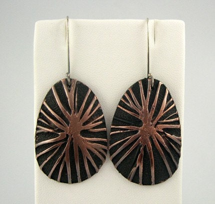 Copper and Polymer Earrings, Textured, Patinaed