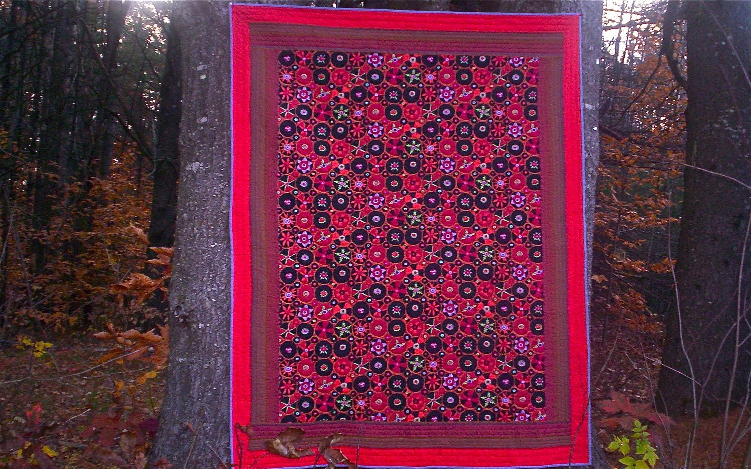 Hand quilted SUZANI pattern lap quilt, Kaffe Fassett fabric OOAK