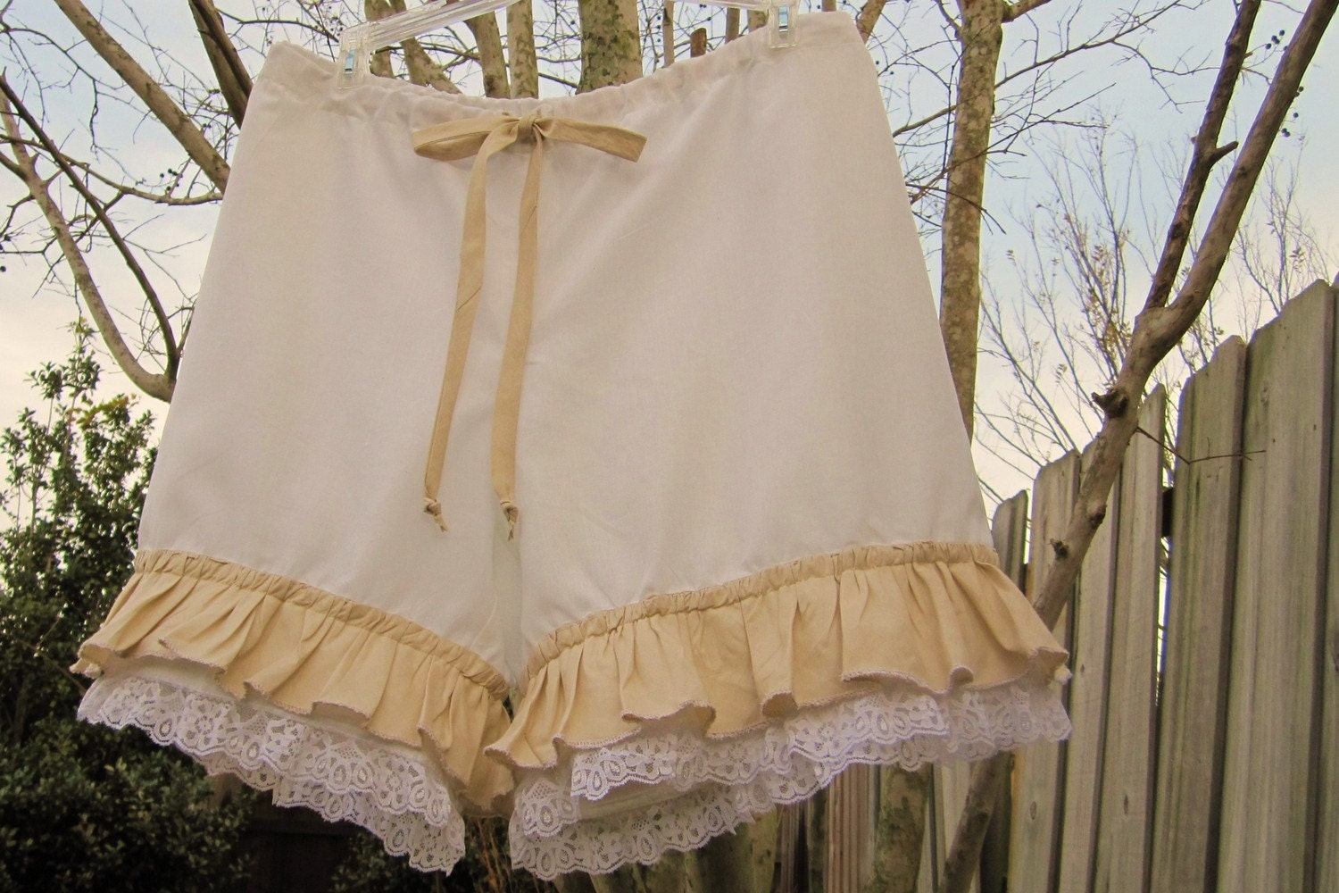 White and Natural Bloomers with Lace and Ruffles