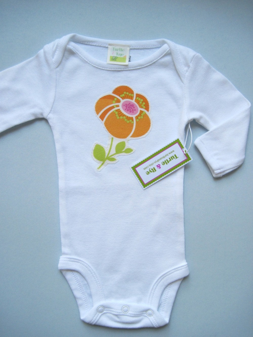 SALE - Poppy Applique Onesie - Orange (Long Sleeve)