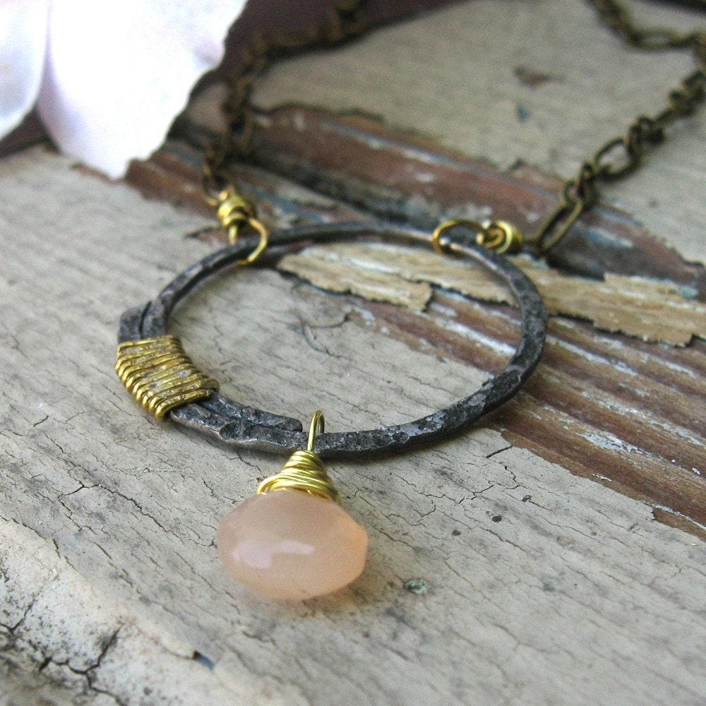 Peach Moonstone and Steel Pendant
