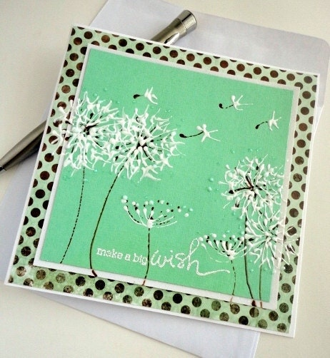 Dandelion Painted Greeting Card, Mint Brown Chocolate Polka Dots, Blank Inside, Summer, Make a Wish