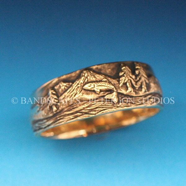 Gold trout fishing band in either 14k yellow white by for Fishing wedding band