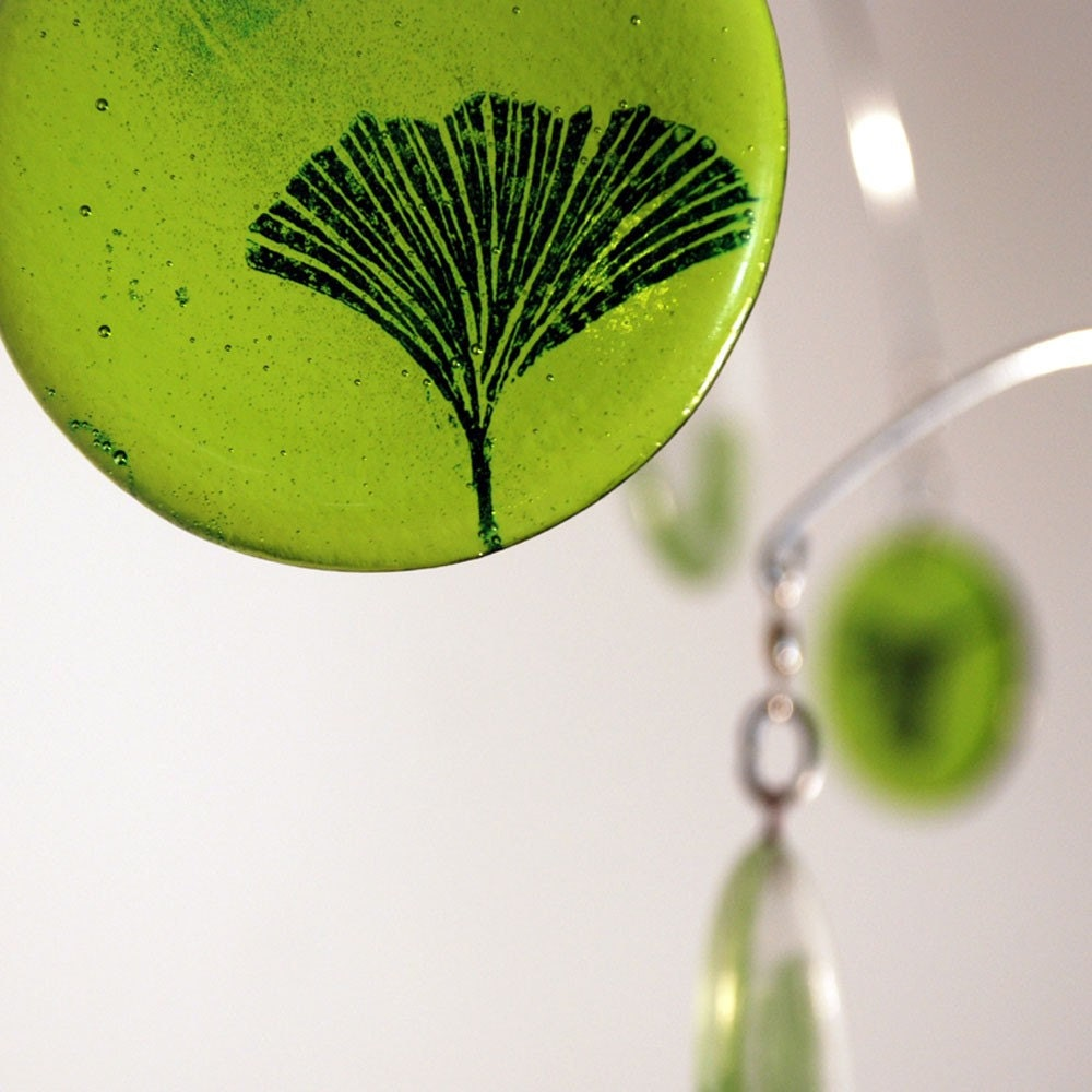 Ginkgo Leaf Glass Mobile