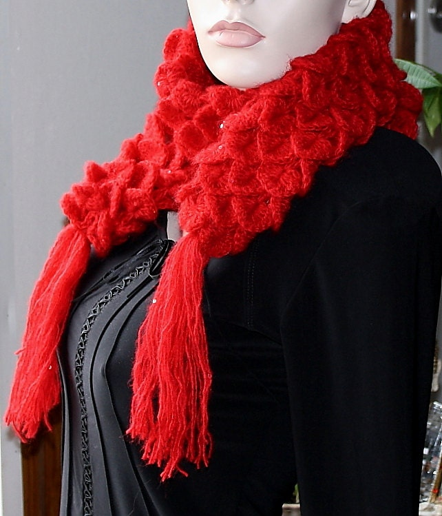 Ruby Red Scarf Neck Warmer Women Crochet Crocodile Stitch Sequin  Red Neck Scarves Women
