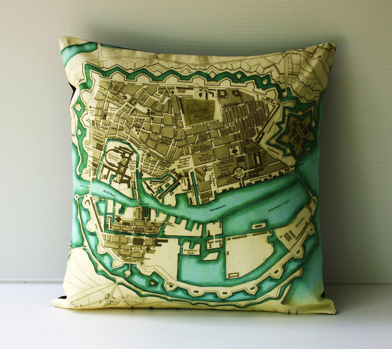 КОПЕНГАГЕН карте подушки, органический хлопок, подушки, подушки, 16 дюймов, 41 см