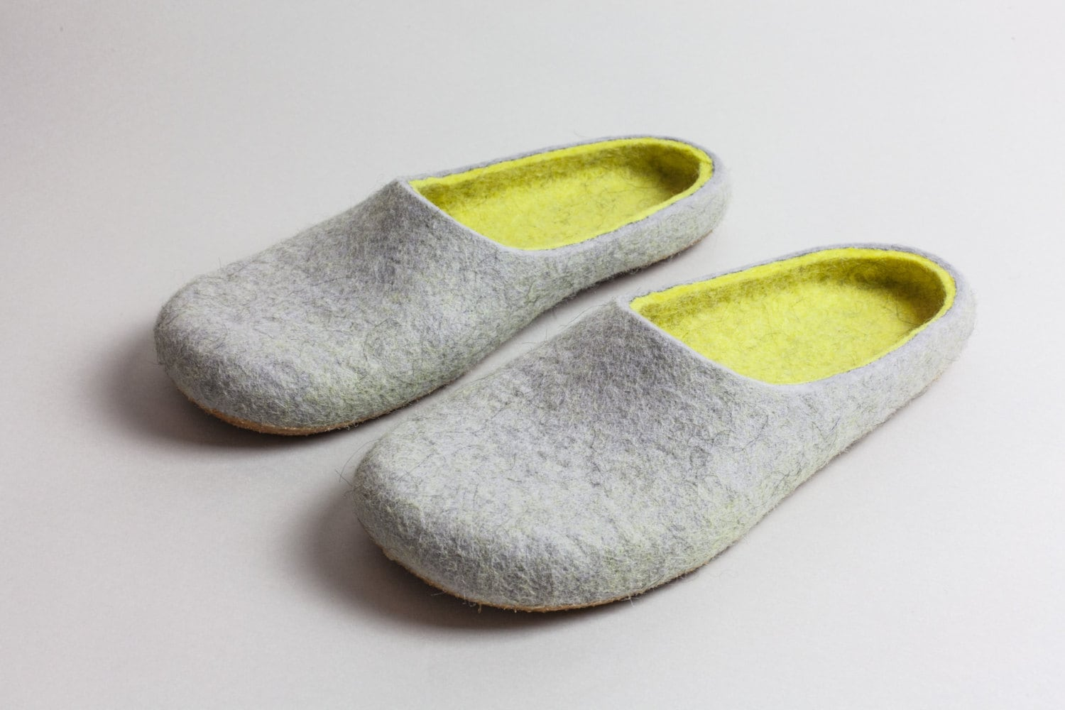 Felted wool slippers Lemon and Grey  HANDMADE TO ORDER - Onstail