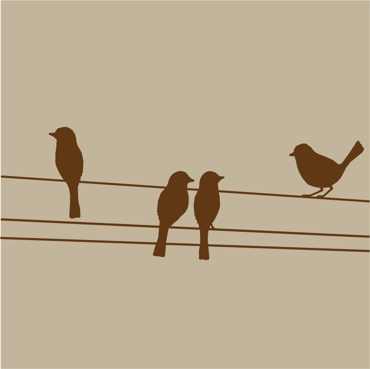 Large Birds on Wires Vinyl Wall Decal