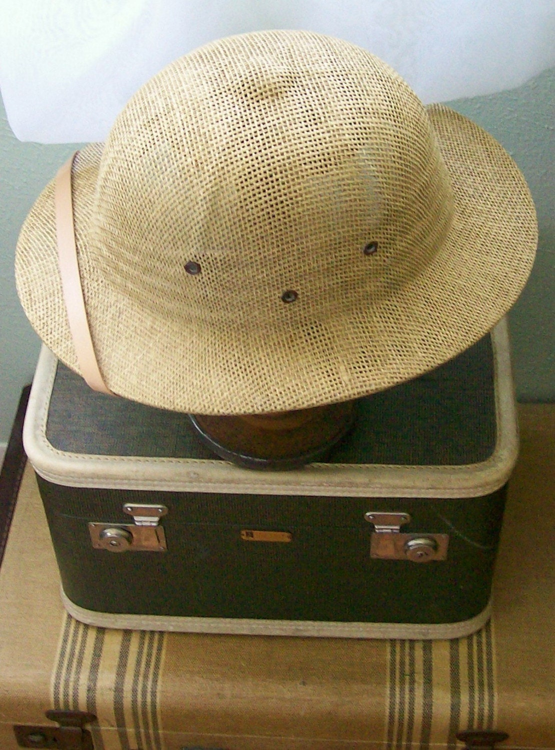 Vintage Safari Pith Helmet Woven and Leather