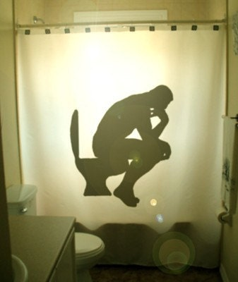 The Thinker SHOWER CURTAIN Rodin Auguste Le Penseur Paris France Toilet Humor Funny