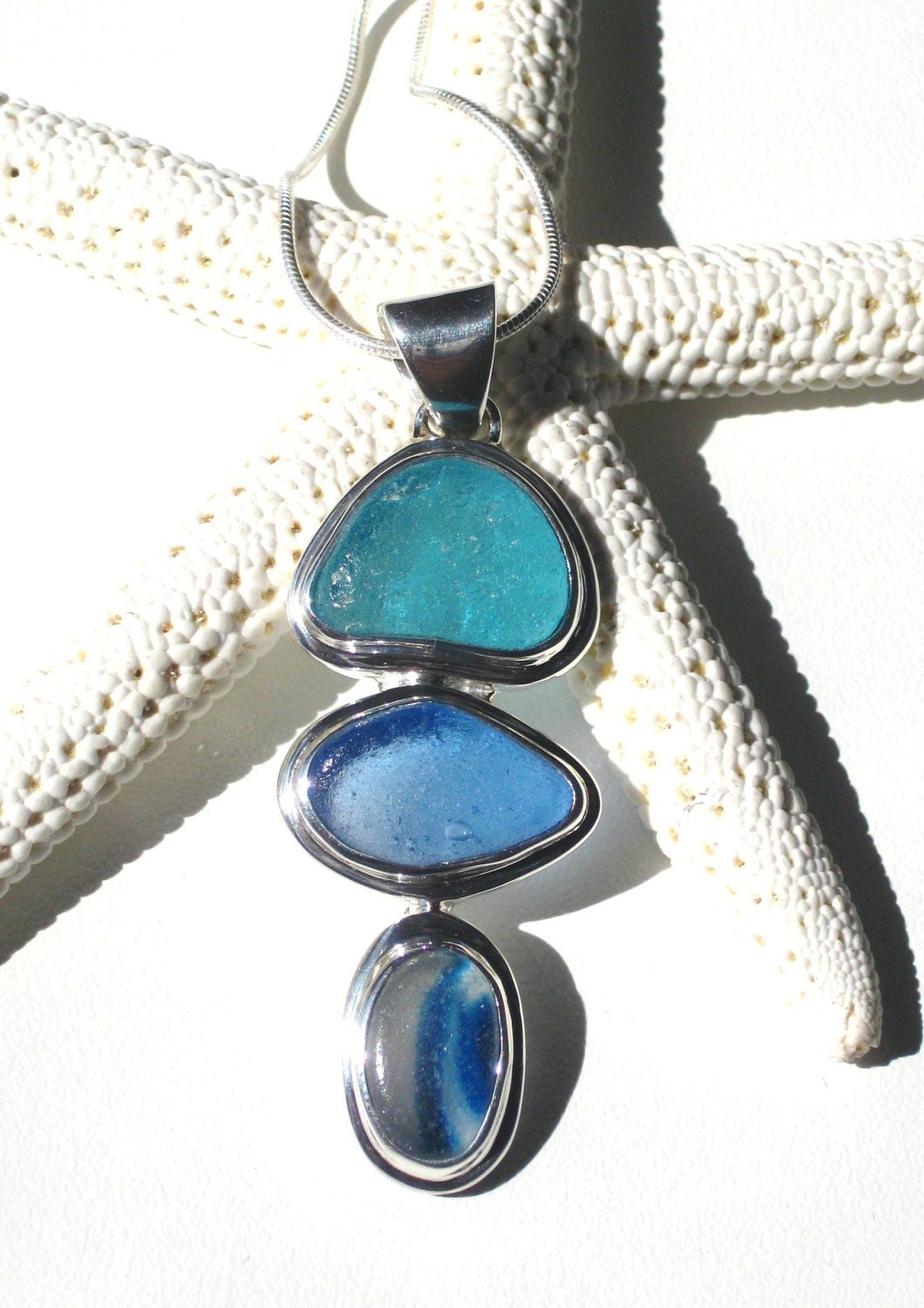 Ocean waves sea glass bezel set sea glass necklace