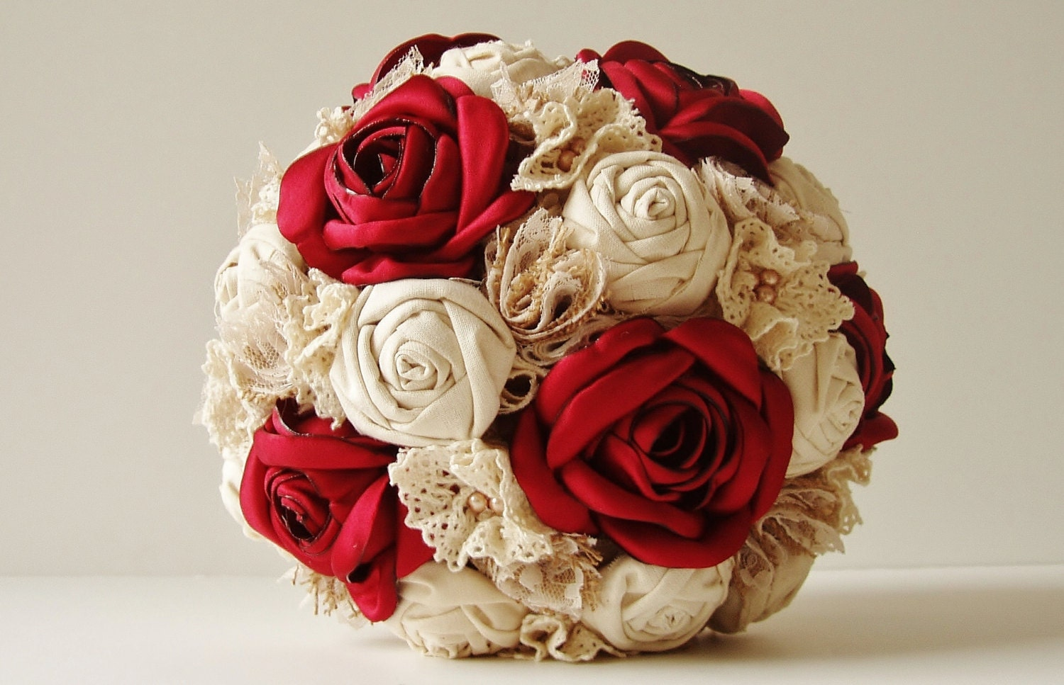 Best Red Wedding Bouquets : Fabric wedding bouquet weddings vintage bridal by
