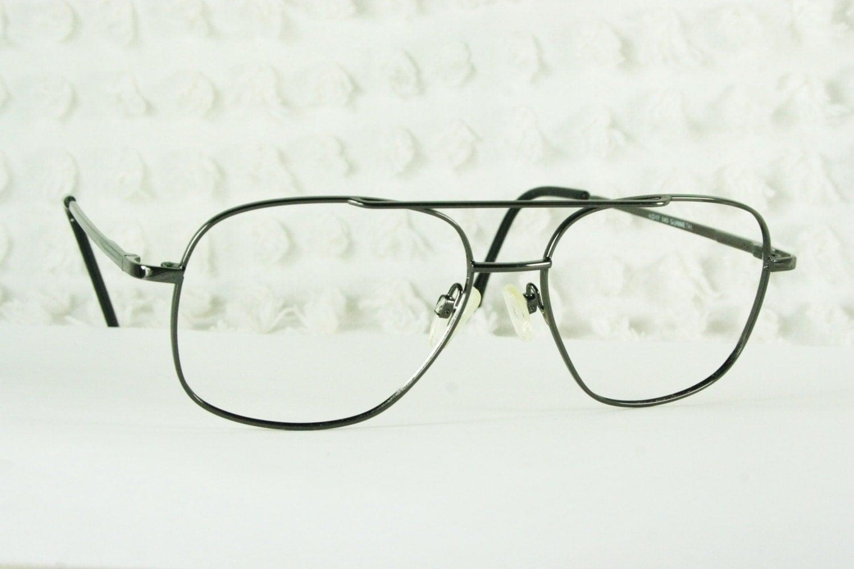 Mens Wire Frame Glasses : 80s Glasses 1980s Aviator Eyeglasses Mens Gunmetal by ...