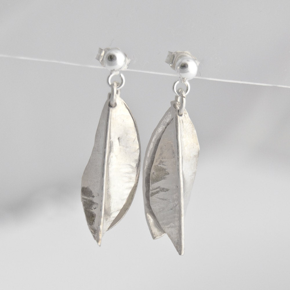 Silver Dangle Studs - Handmade Botanical Earrings, Leaf Shaped - TheSilverStudy
