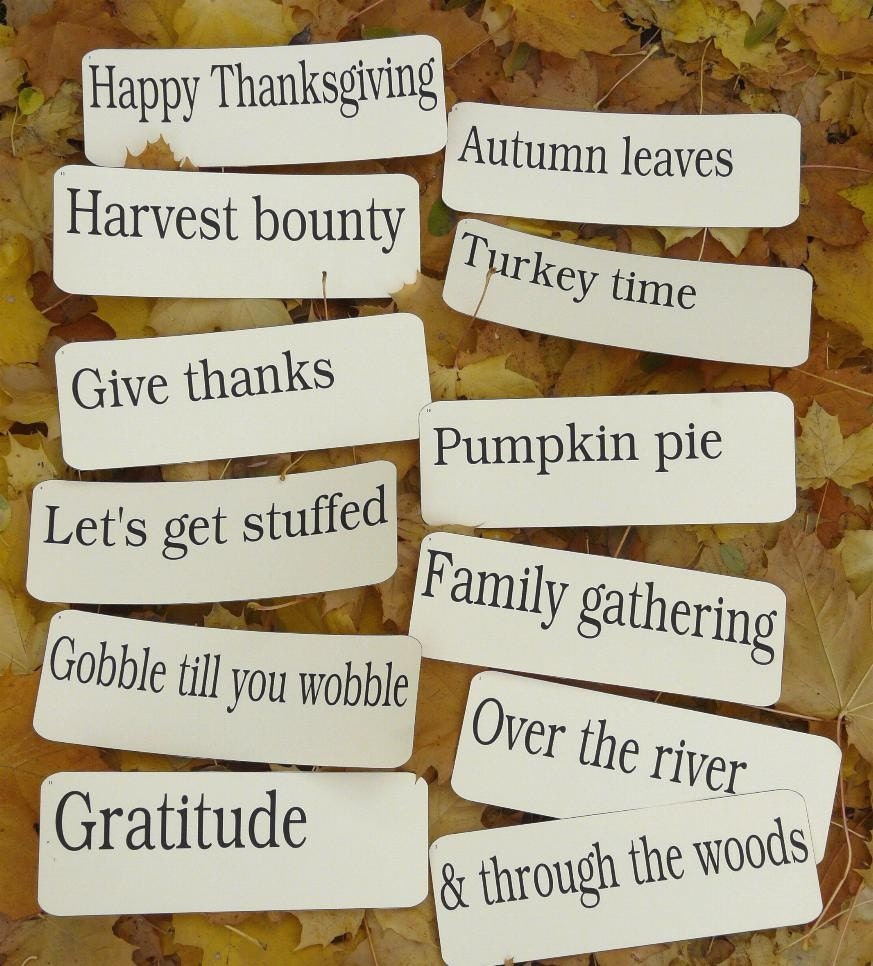 12 Large Thanksgiving Fall Flash Cards - vintage like phrases altered art  thanks gratitude antique signs words scrapbooking primitive