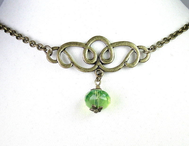 Light Green Opal Czech Glass Choker Necklace