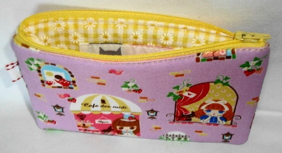 Cafe des Midi Zippered Pouch  Little Cafe Girls Purple by WolfBait