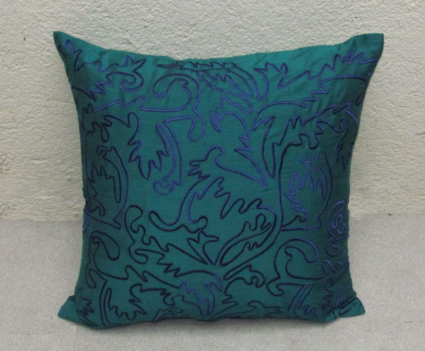 teal green throw pillow cover with blue by Comfyheavenpillows