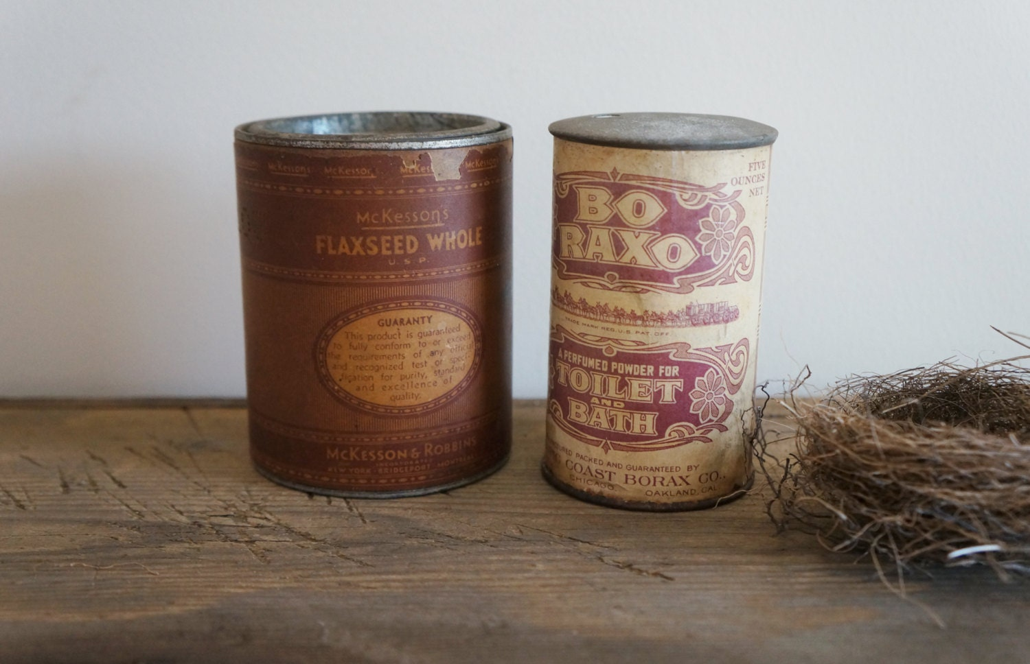 Collectible Tins,  Antique Boraxo Tin, Antique McKesson's Tin, Antique Tin Cans with Labels and Contents, Farmhouse Decor - RedHillHome