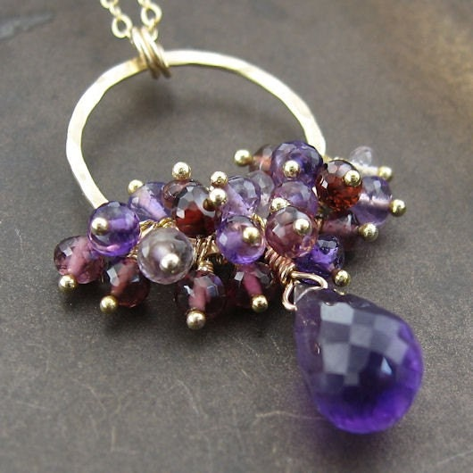Amelia Necklace - Amethyst, Rhodolite Garnet, Pink Amethyst, Garnet and 14K Gold Fill