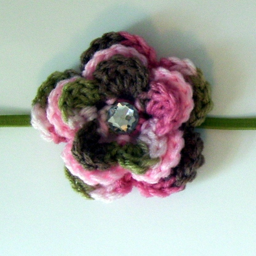 Pink Cammo Flower Headband