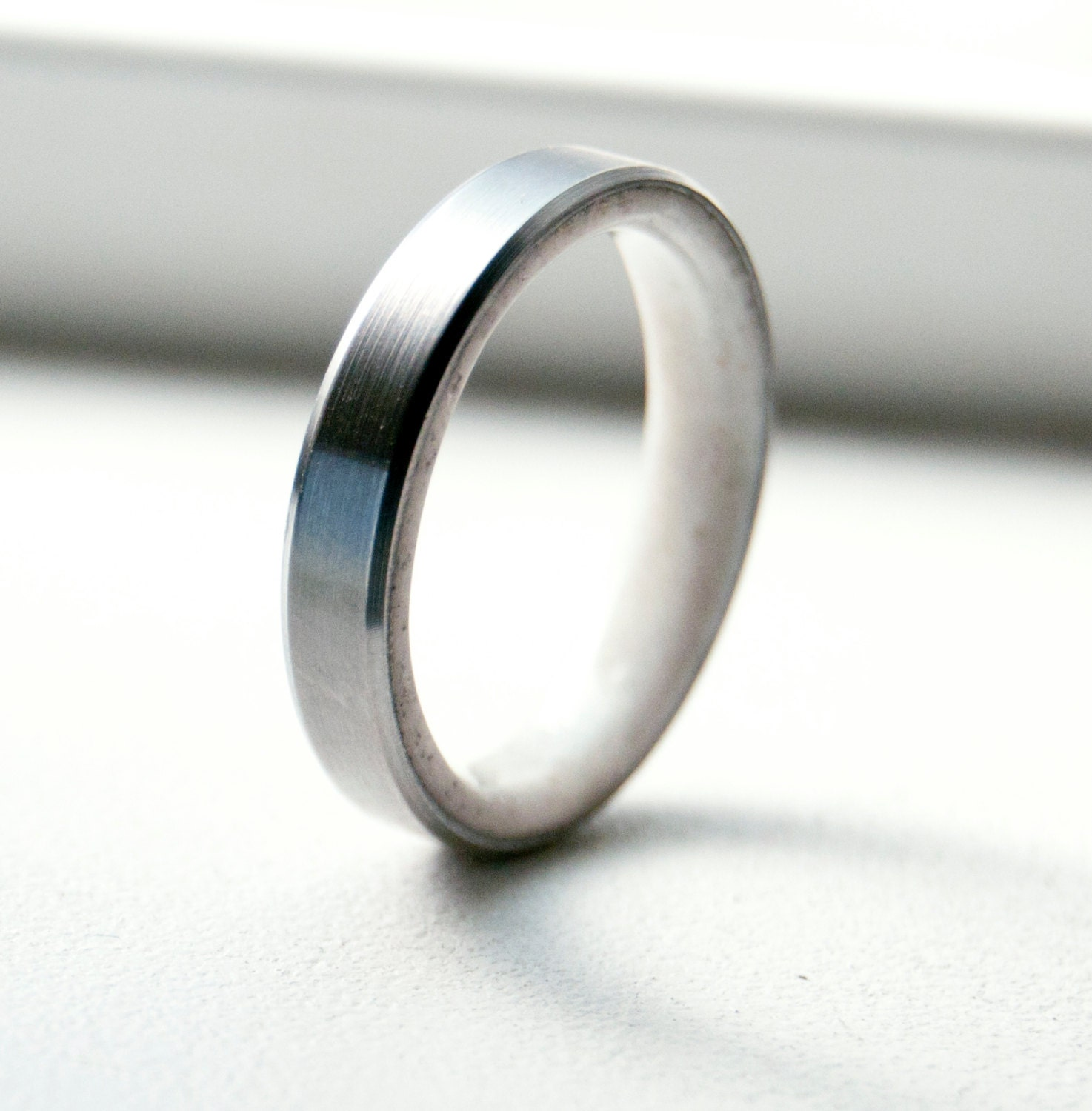 Mens Titanium And Antler Wedding Band Titanium By StagHeadDesigns
