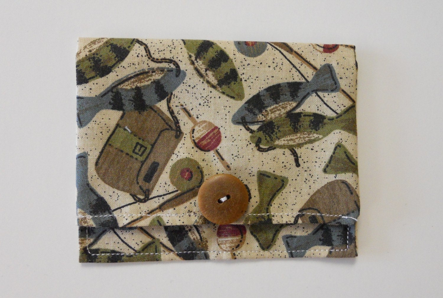 Fishing theme fabric business card holder by sarahsstitchesmi for Fishing themed fabric