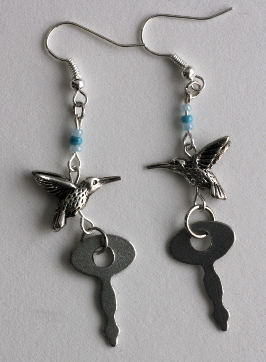The Birds and the Keys earrings, OOAK