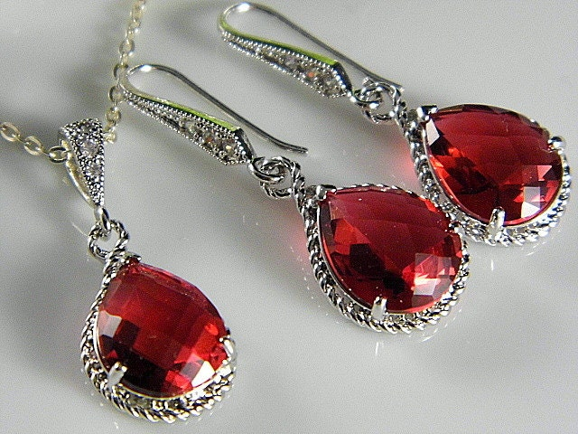 Silver Ruby Teardrop Czech Glass Crystal Necklace and Earring Set Bridesmaids Jewelry, Bridal Jewelry REF-601