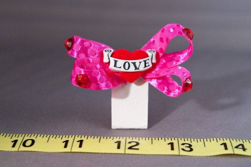 Pink Love Heart Hair Clip One Hand