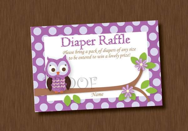 INSTANT DOWNLOAD Diaper Raffle Tickets Printable Purple Owl Baby ...