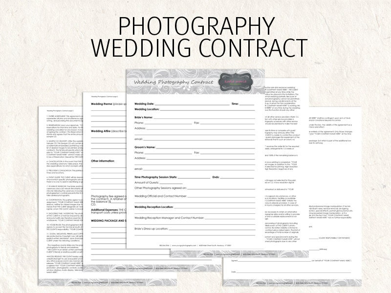 wedding photography contract business forms by photographylogos. Black Bedroom Furniture Sets. Home Design Ideas