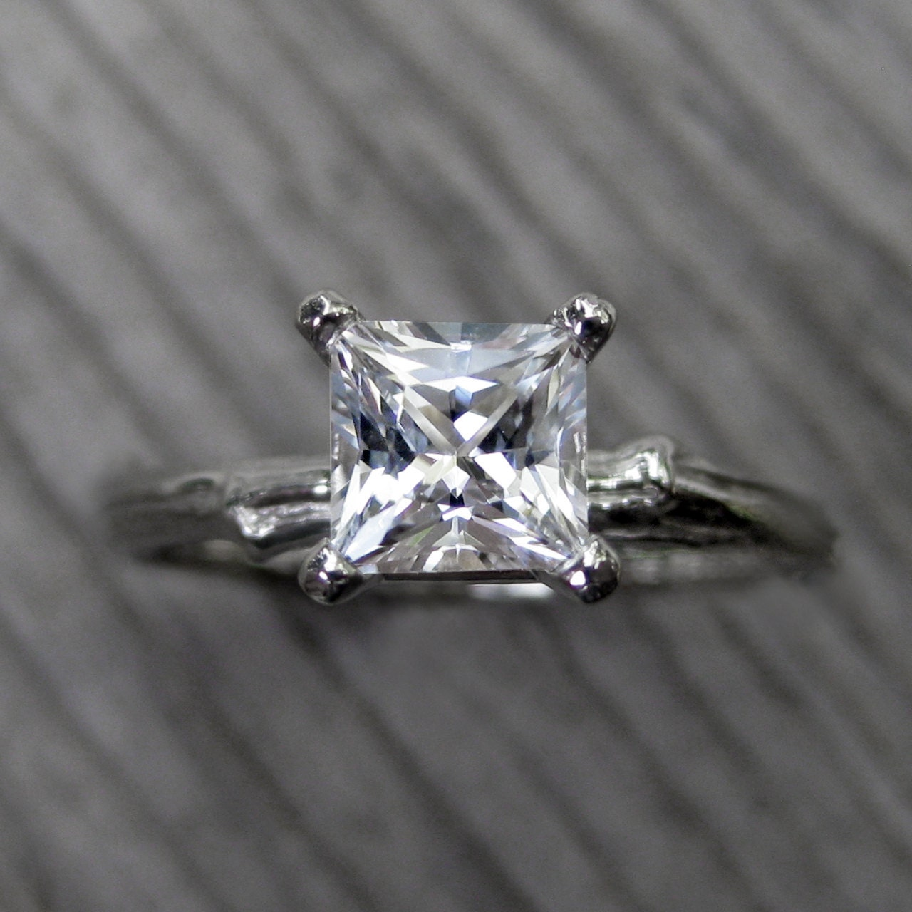 princess cut white sapphire twig engagement ring by