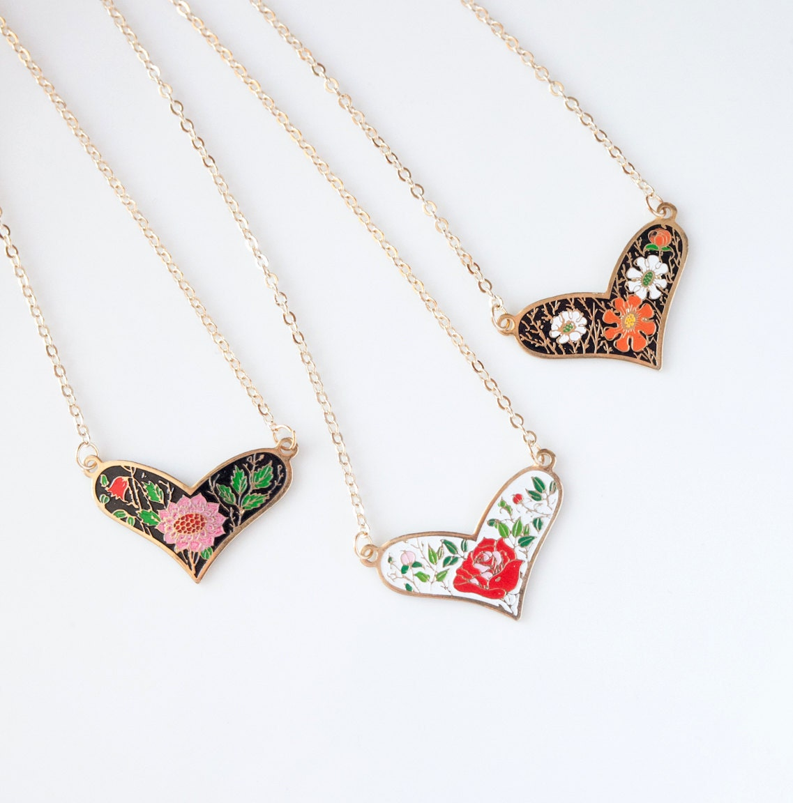 Floral Heart Necklace - Pink Mum, Red Rose or Orange Daisy - Pick one - saylorrose