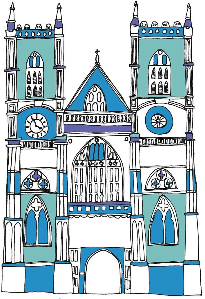Royal Wedding Westminster Abbey Illustration - Limited Edition Print