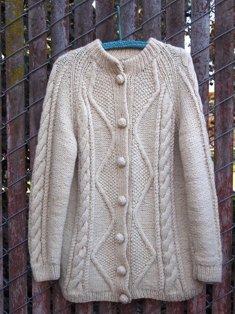 Vintage Cream Wool Fisherman's Sweater Mens Large