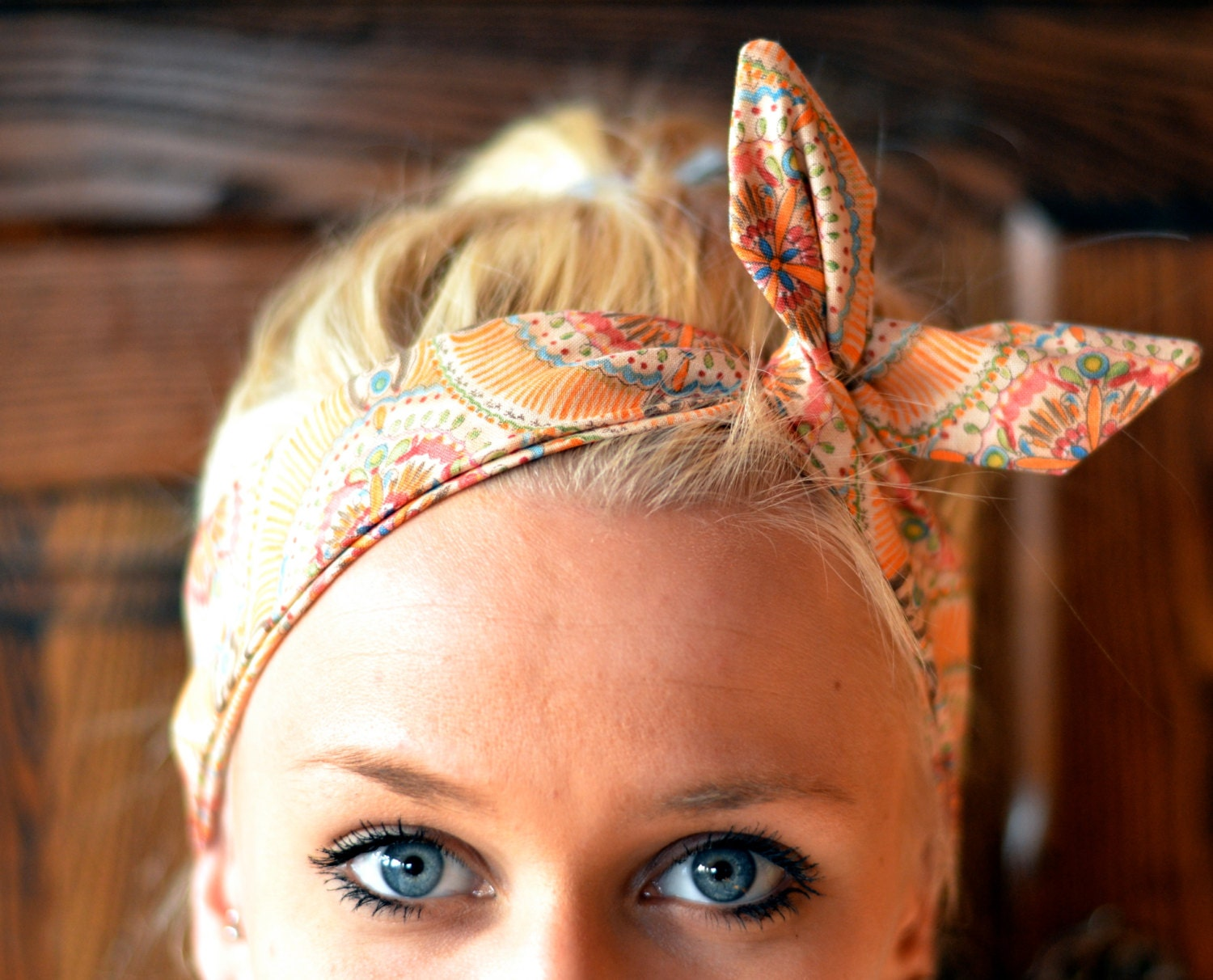 Spring Peach Structured Dolly Bow Headwrap - Ikat Turban