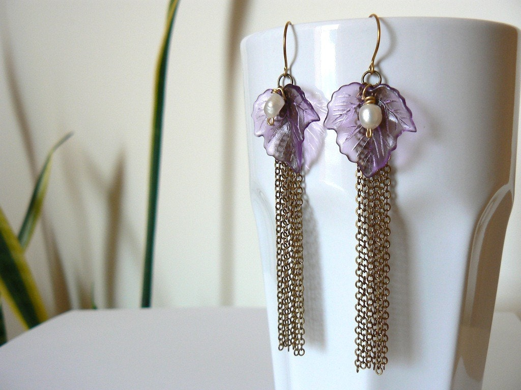 Live Your Own, Long Fairytale Earrings in Brass