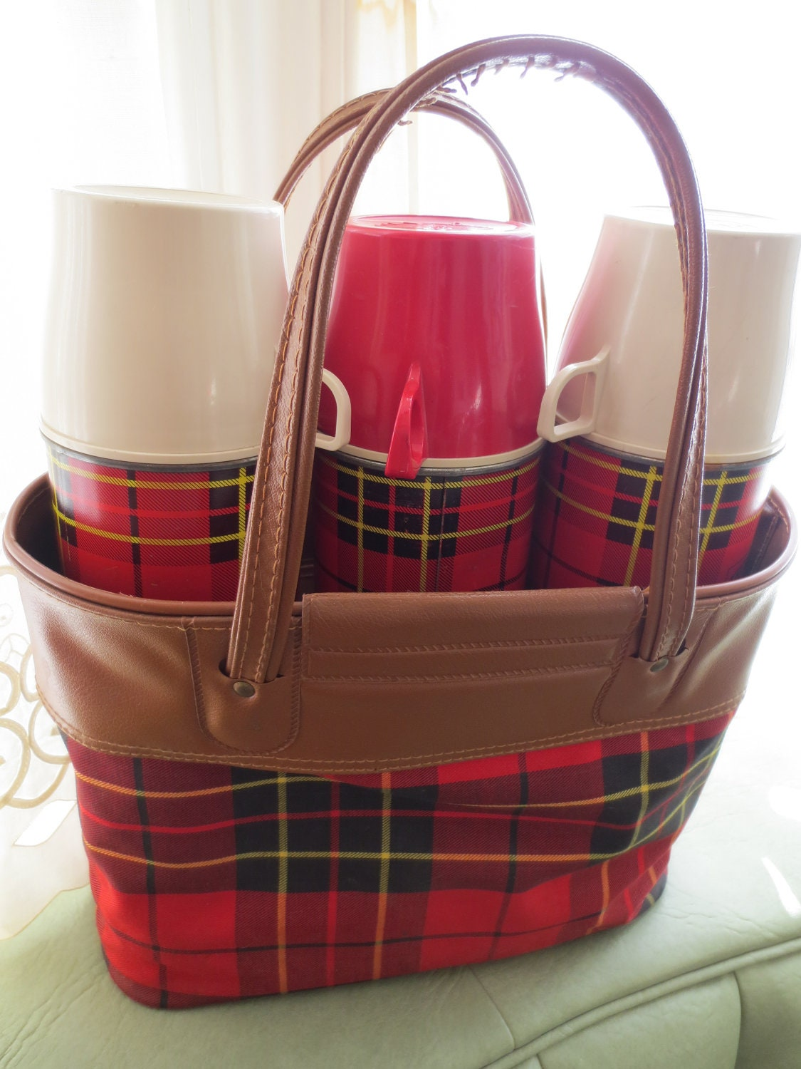 Vintage thermos set plaid thermos bottles in red by bettyanddot
