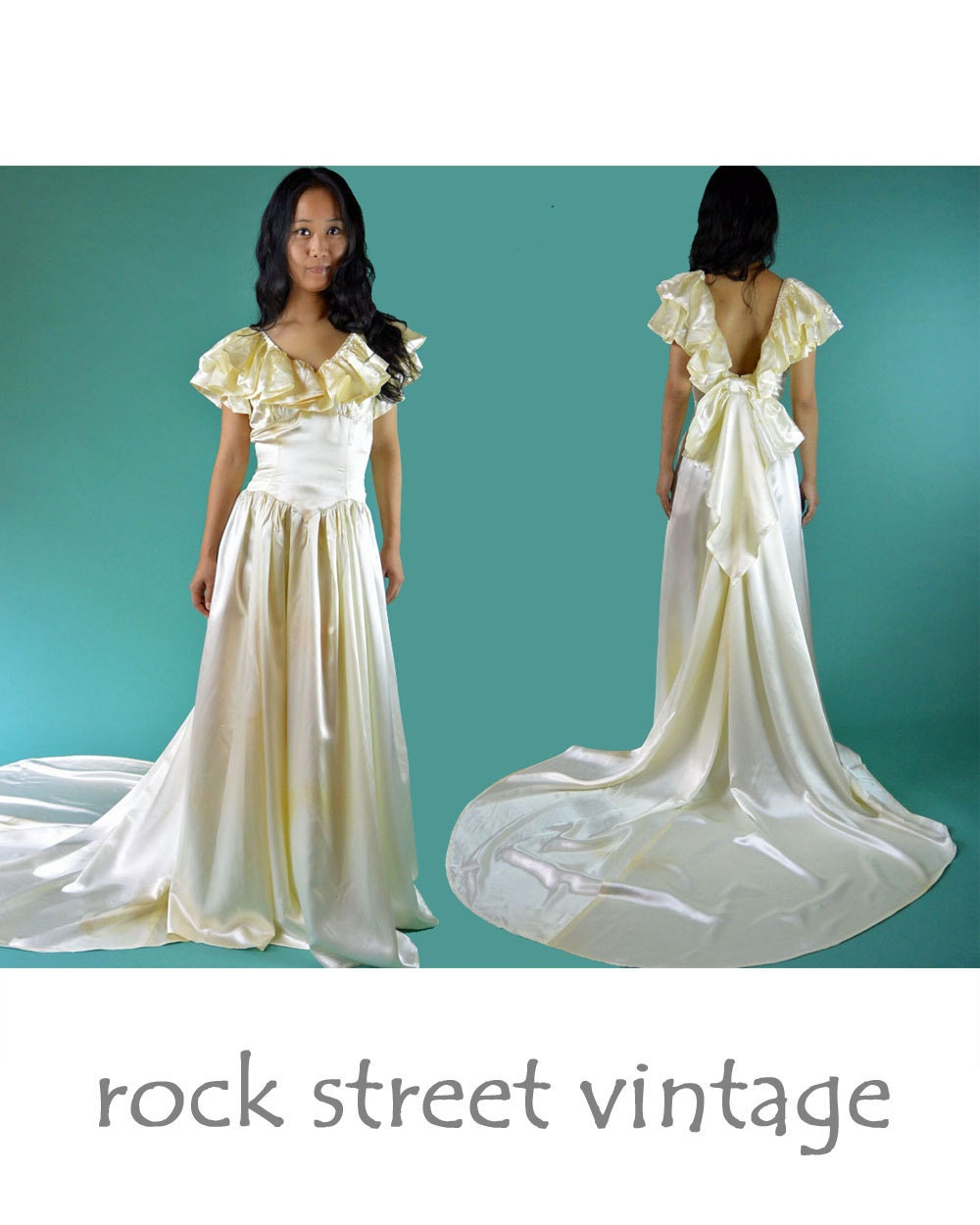 Vintage s wedding dress cream s atin bohemian wedding dress long