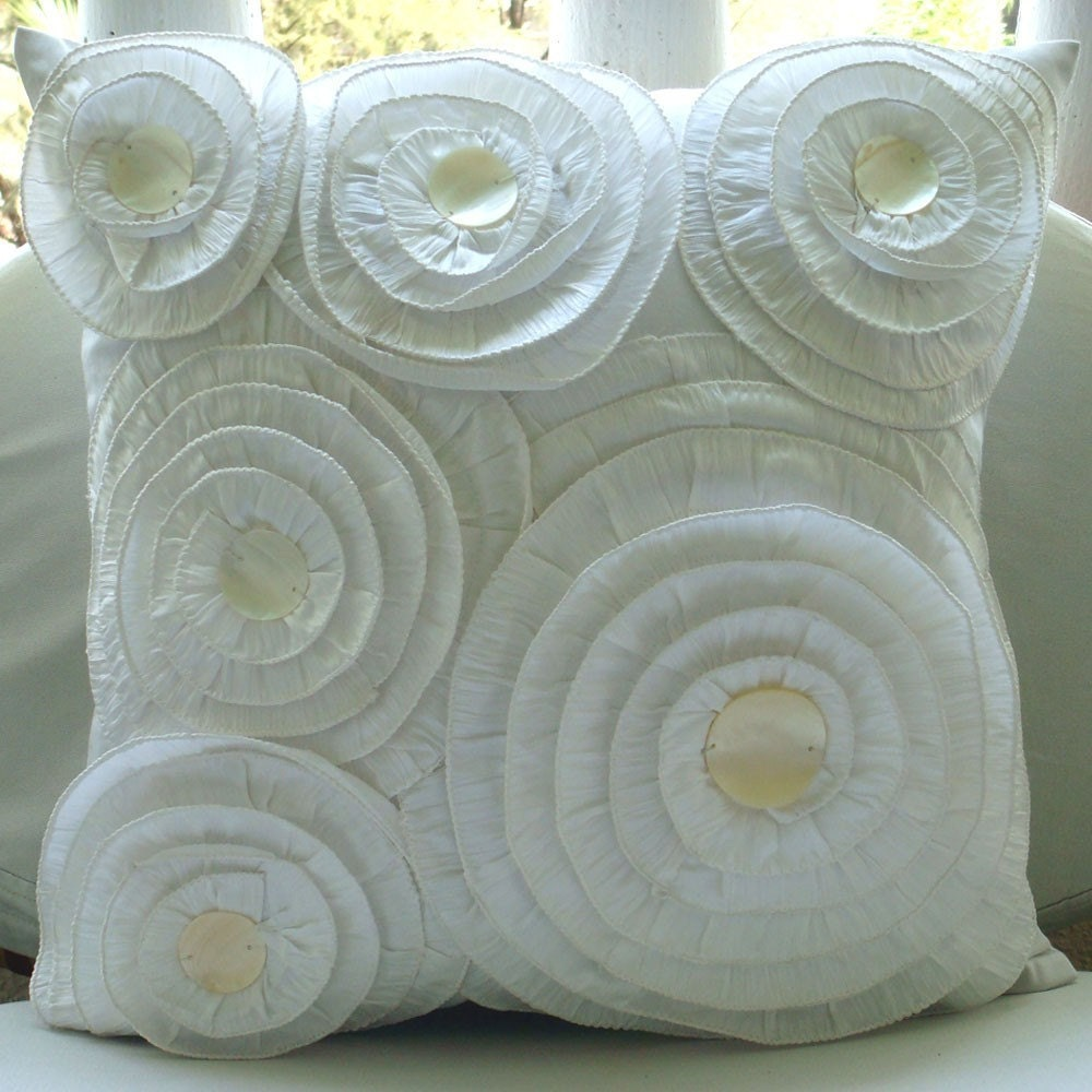 Vintage Charm - Throw Pillow Covers - 16x16 Inches Silk Pillow Cover with Ruffles and Pearls