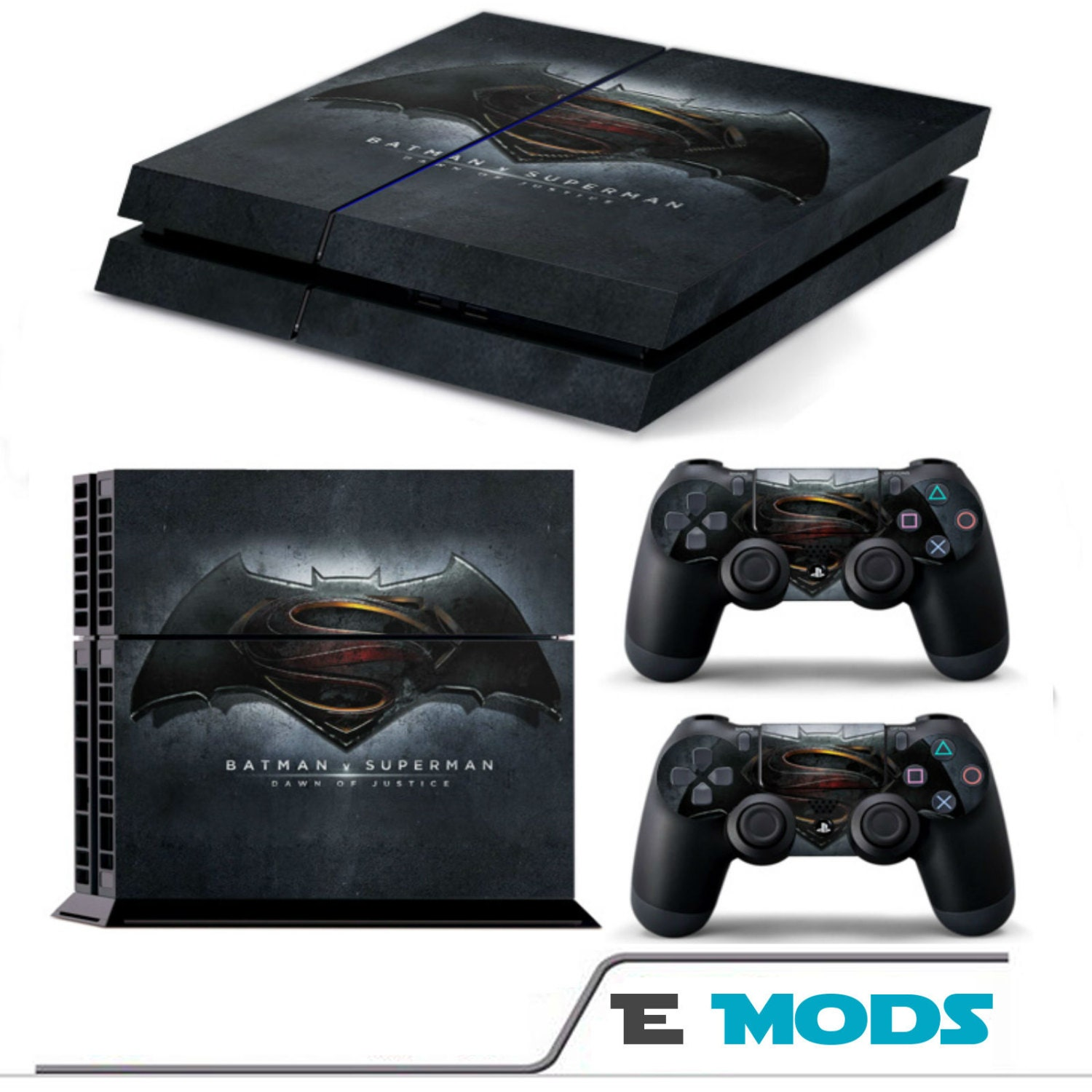 Batman v Superman BvS Playstation 4 PS4 Console Skin Vinyl Graphic decal  2 controller stickers