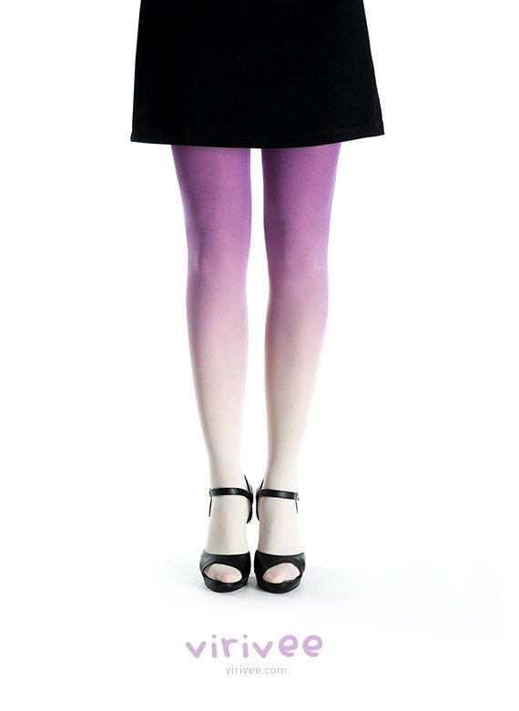 Ombre tights ivory - purple - virivee