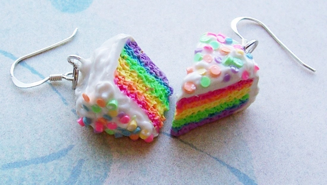 Polymer Clay Rainbow Cake Earrings and Necklace Set with Free Shipping