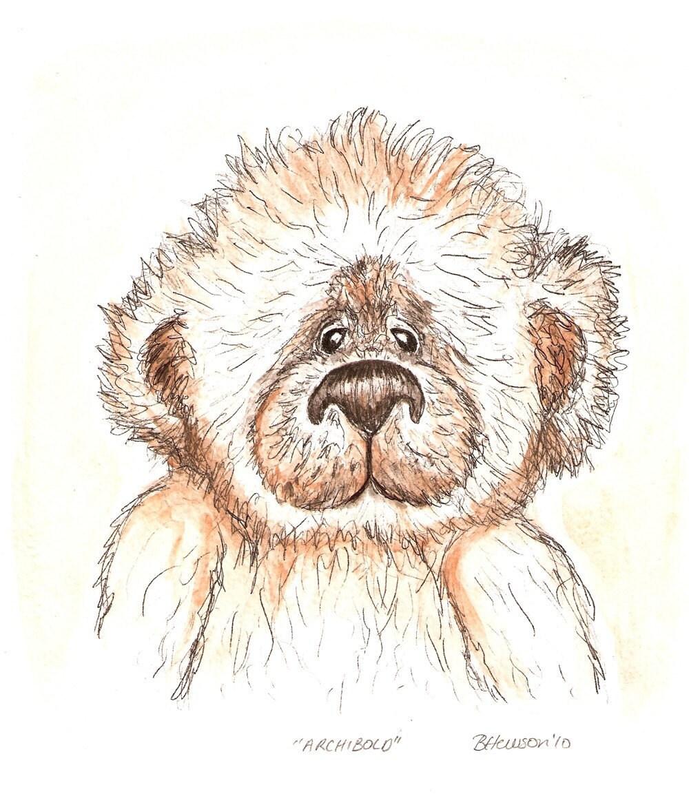 Small Fingerprint Live Oak Tree Wedding Guest Book Hand Drawn: Teddy Bear Art Archibold The Fuzzy Original By Theinkybean