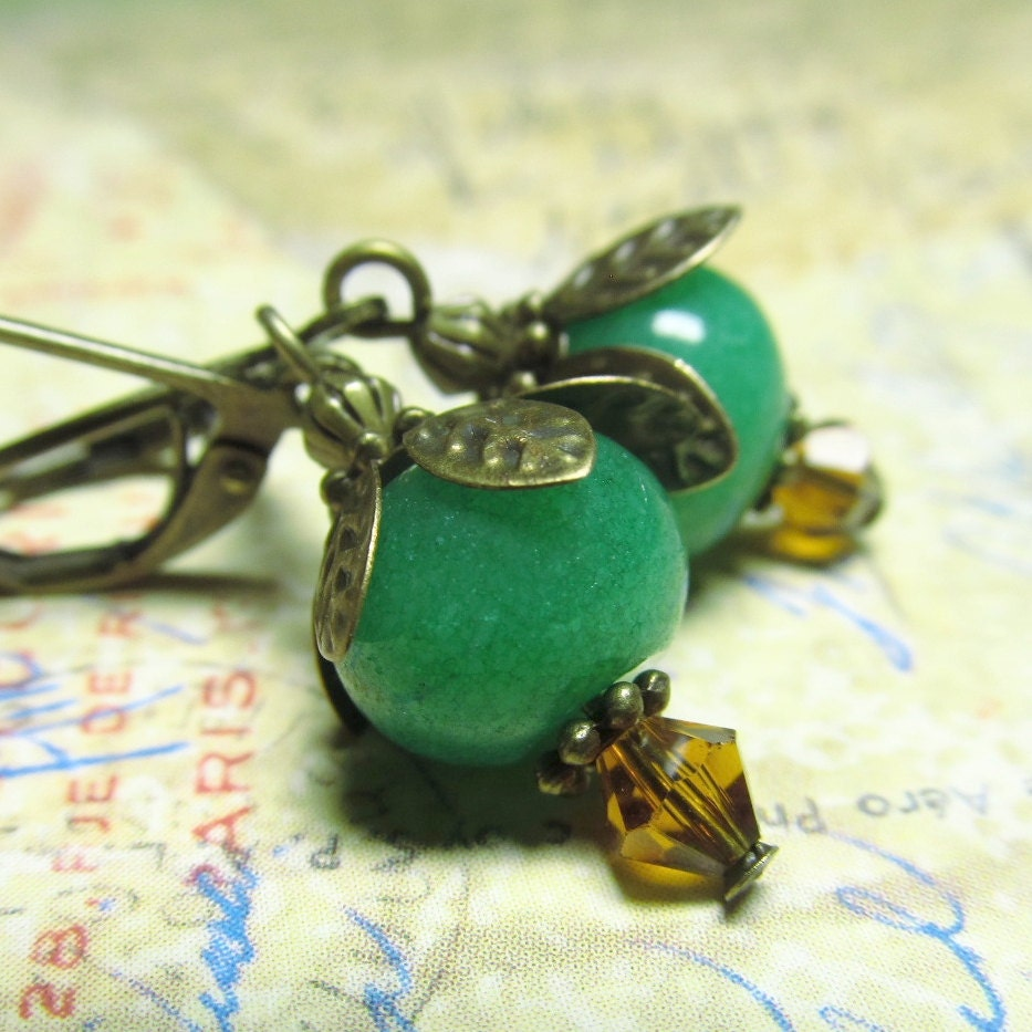 Green Jade Earrings, Amber Crystal & Brass with Green Jade Beads