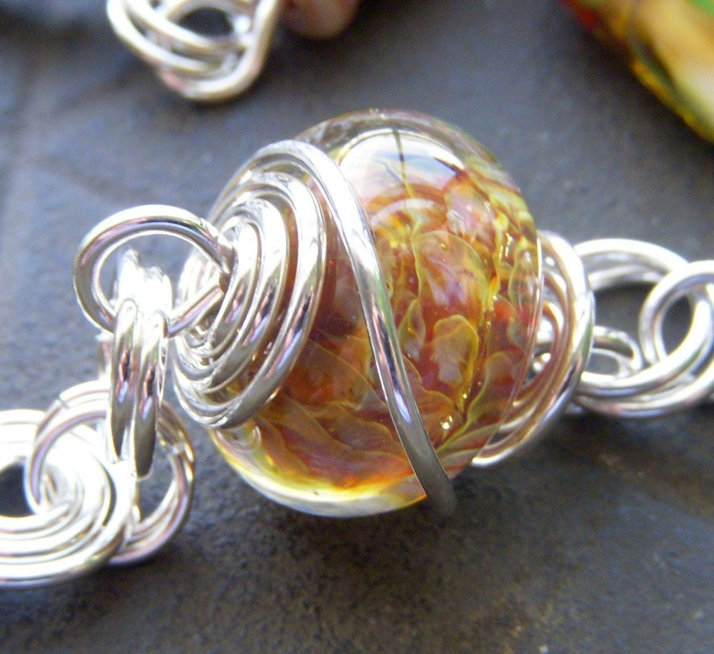 Golden Treasure - Sterling Silver Lampwork Wire Wrapped Necklace