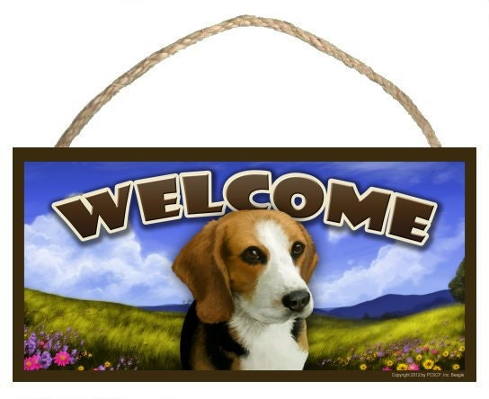 "Beagle Spring Season 10"" x 5"" Welcome Sign"