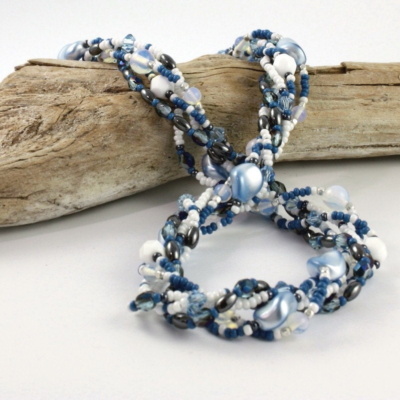 Sea Opal Aqua Blue Pearl Necklace Multi by abacusbeadcreations from etsy.com
