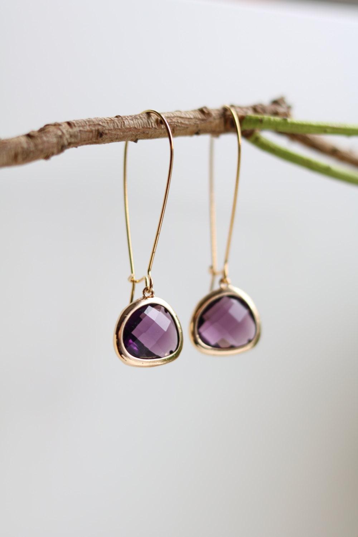 Amethyst Earrings  Gold Dangle Earrings  Stone Earrings  Drop Earrings  Birthstone Earrings  Purple Earrings   Amethyst Jewellery